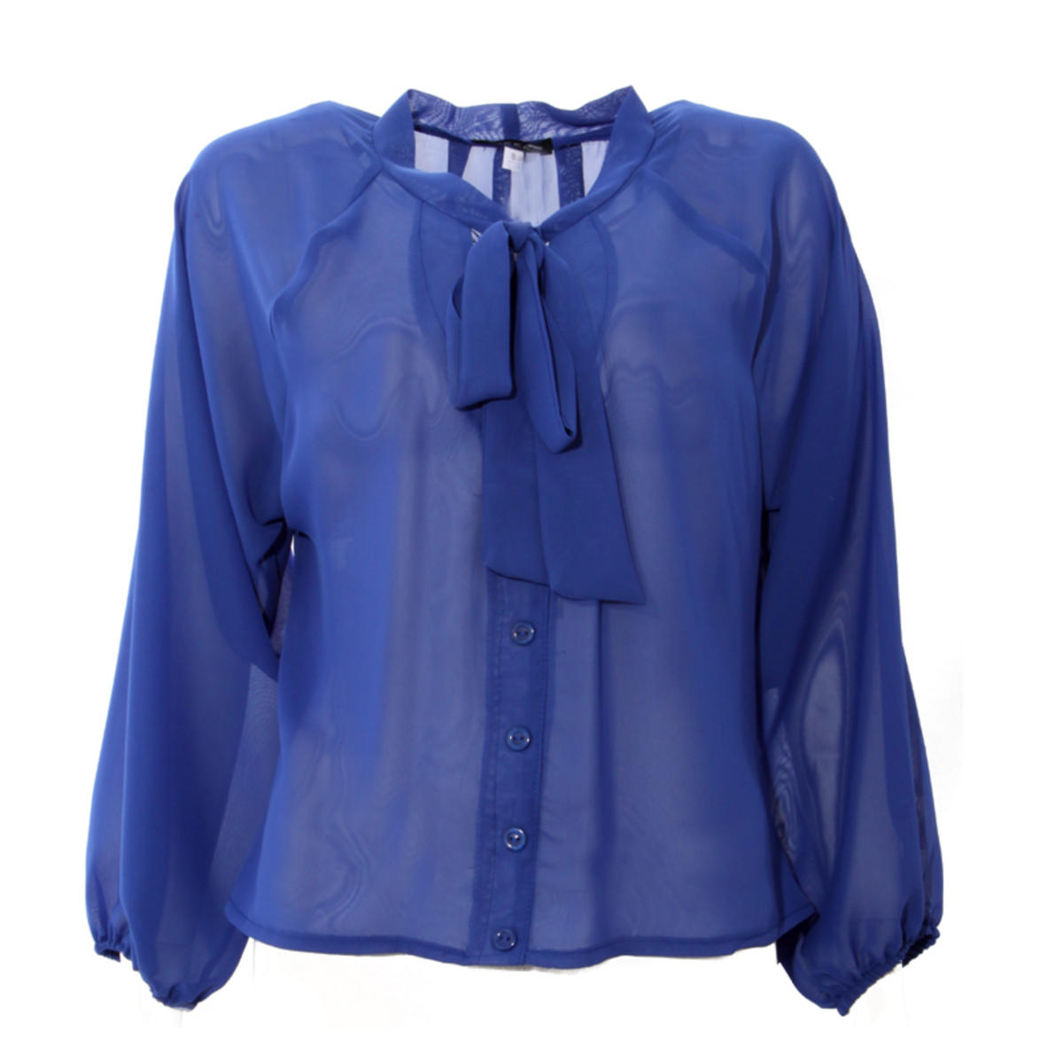 Blue Sheer Pussybow Blouse Preview