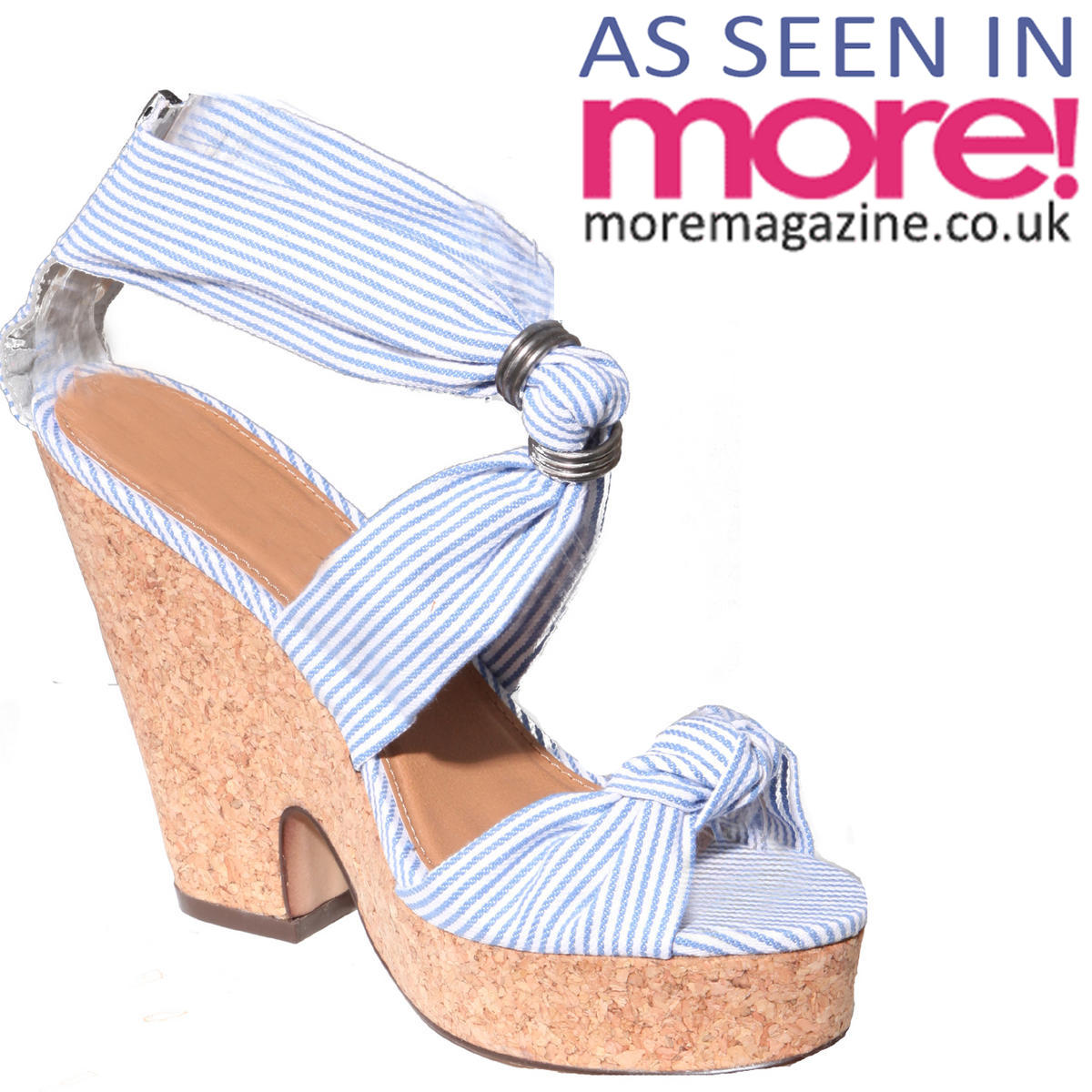 Blue Stripe Platform Wedge Sandal Preview