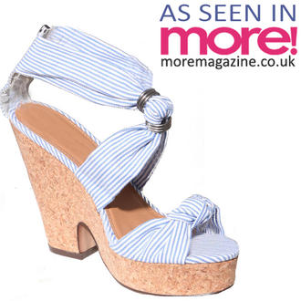 View Item Blue Stripe Platform Wedge Sandal