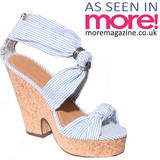 Blue Stripe Platform Wedge Sandal