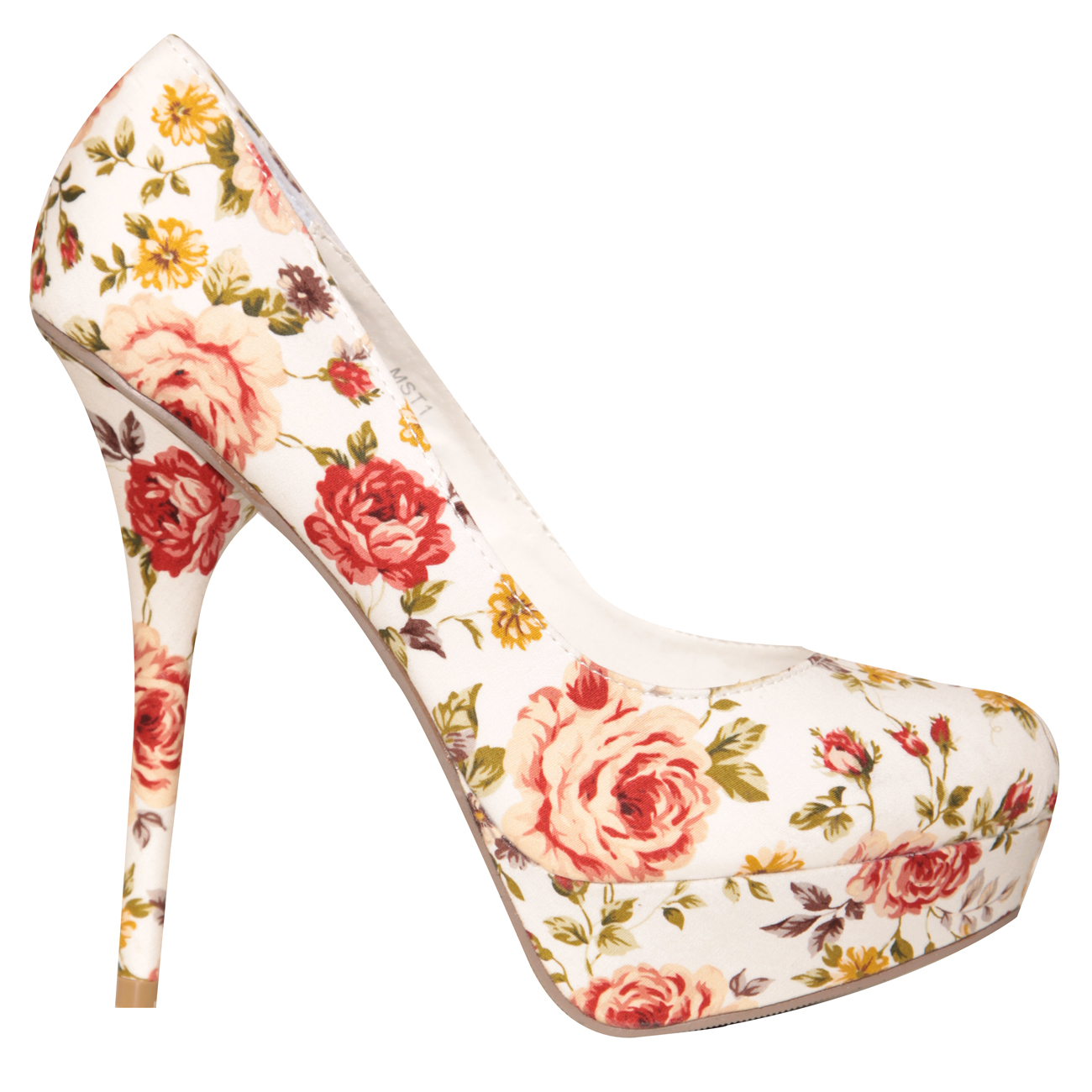 SIZE 6 ONLY White Floral Print Platfrom Court Shoe Preview