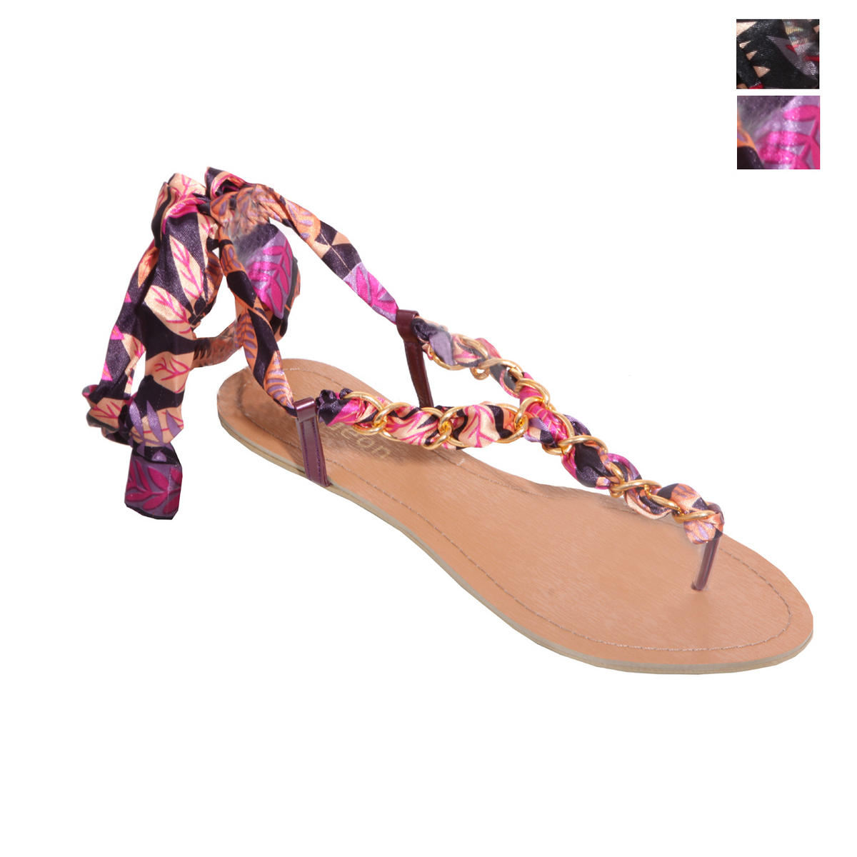 Multi Chain Floral Tie Up Sandal Preview