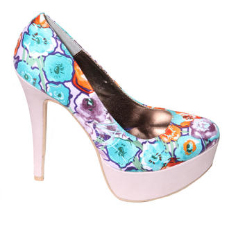 View Item Lilac Floral Print Platform 