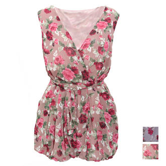 View Item Rose Print Belted Playsuit