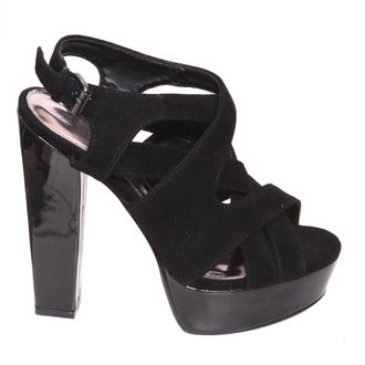 View Item Black Suedette Crossover Platform Sandal