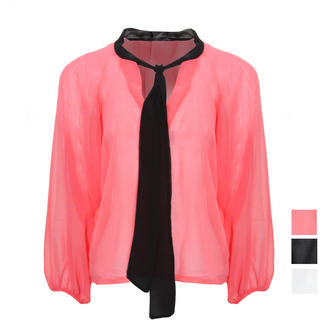 View Item Contrast Pussybow Asymmetric Blouse