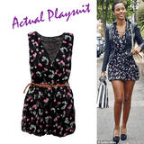Black Cherry Print Belted Playsuit