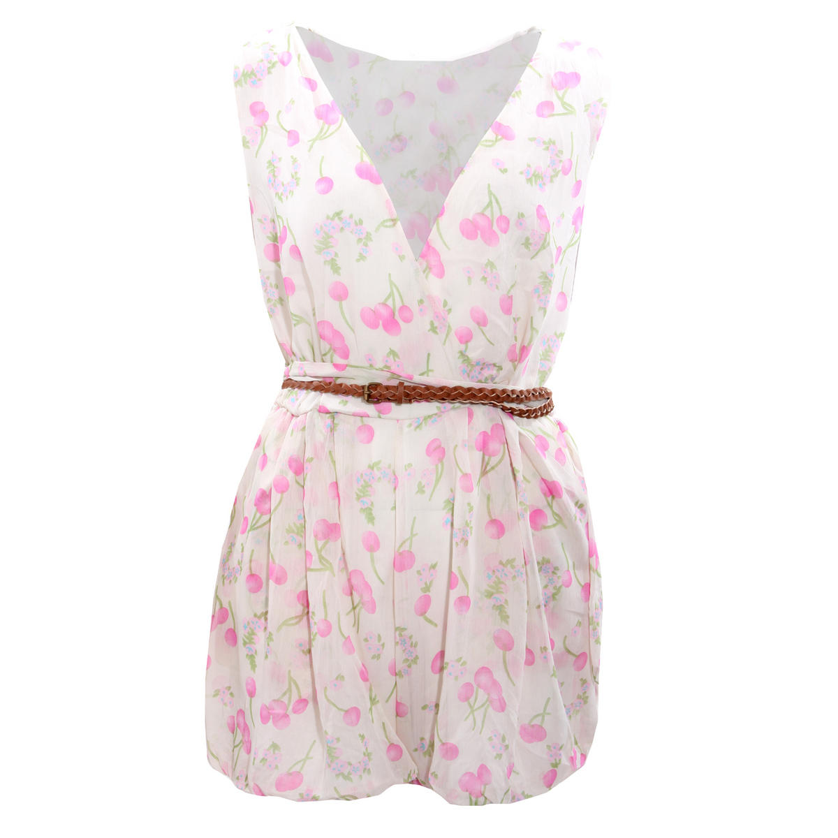 SIZE 10 ONLY Cream Cherry Print Belted Playsuit Preview