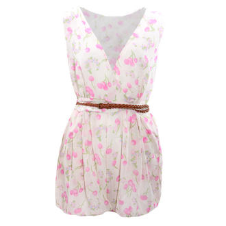 View Item SIZE 10 ONLY Cream Cherry Print Belted Playsuit