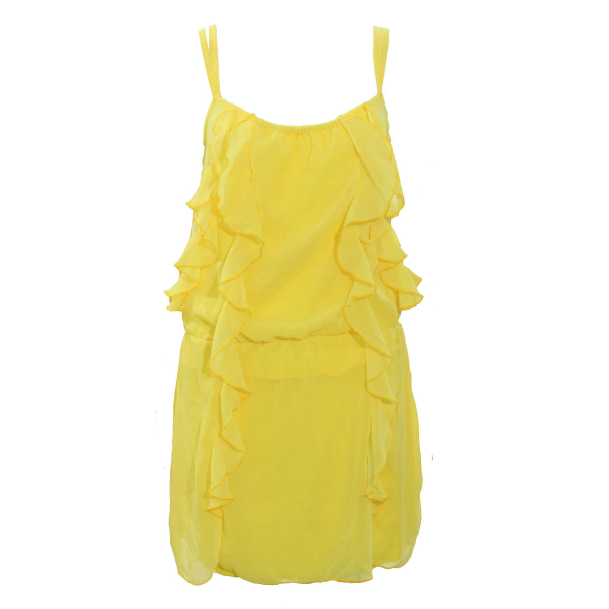 Yellow Strappy Ruffle Dress Preview