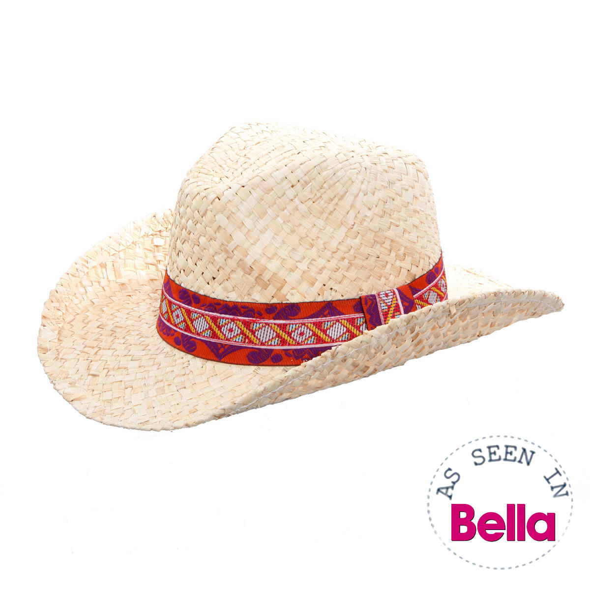Straw Cowboy Hat with Tribal Band Preview