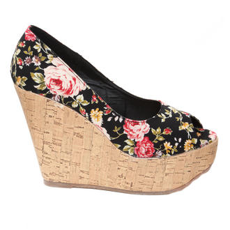 View Item Black Floral Peeptoe Wedge Sandal