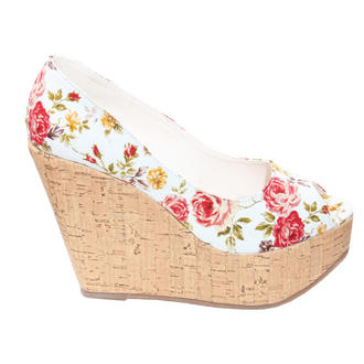 View Item White Floral Peeptoe Wedge Sandal