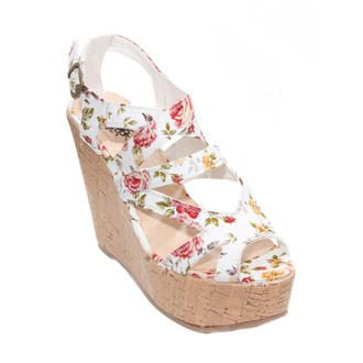 View Item White Floral Wedge Sandals