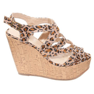 View Item SIZE 4 ONLY Leopard Print Wedge Sandals