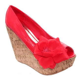 View Item Red Flower Peeptoe Wedge