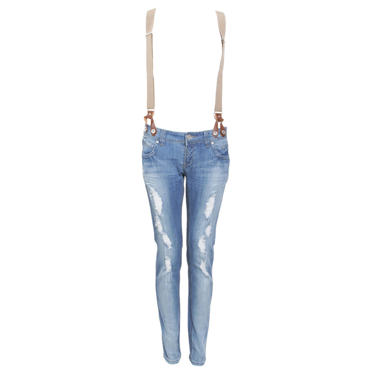 Distressed Skinny Jeans with Braces Preview