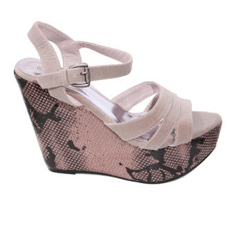 View Item Suedette Strap Snakeskin Wedge Sandal