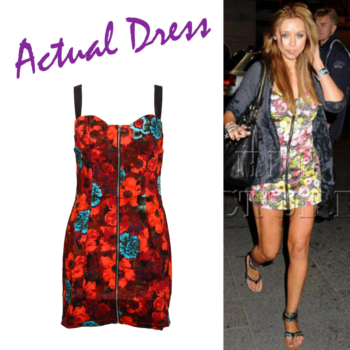 Bright Floral Print Zip Dress Preview