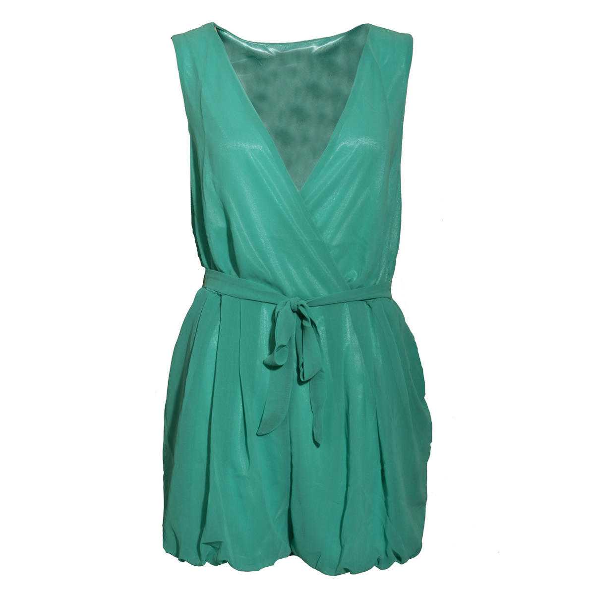 Teal Wrapover Belted Playsuit Preview