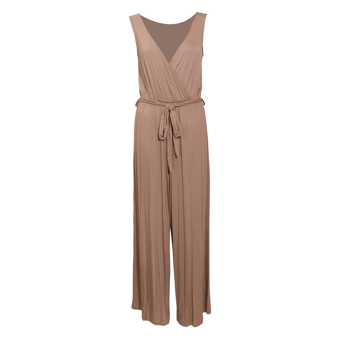 Mocha Wrapover Palazzo Jumpsuit Preview