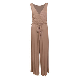 View Item Mocha Wrapover Palazzo Jumpsuit