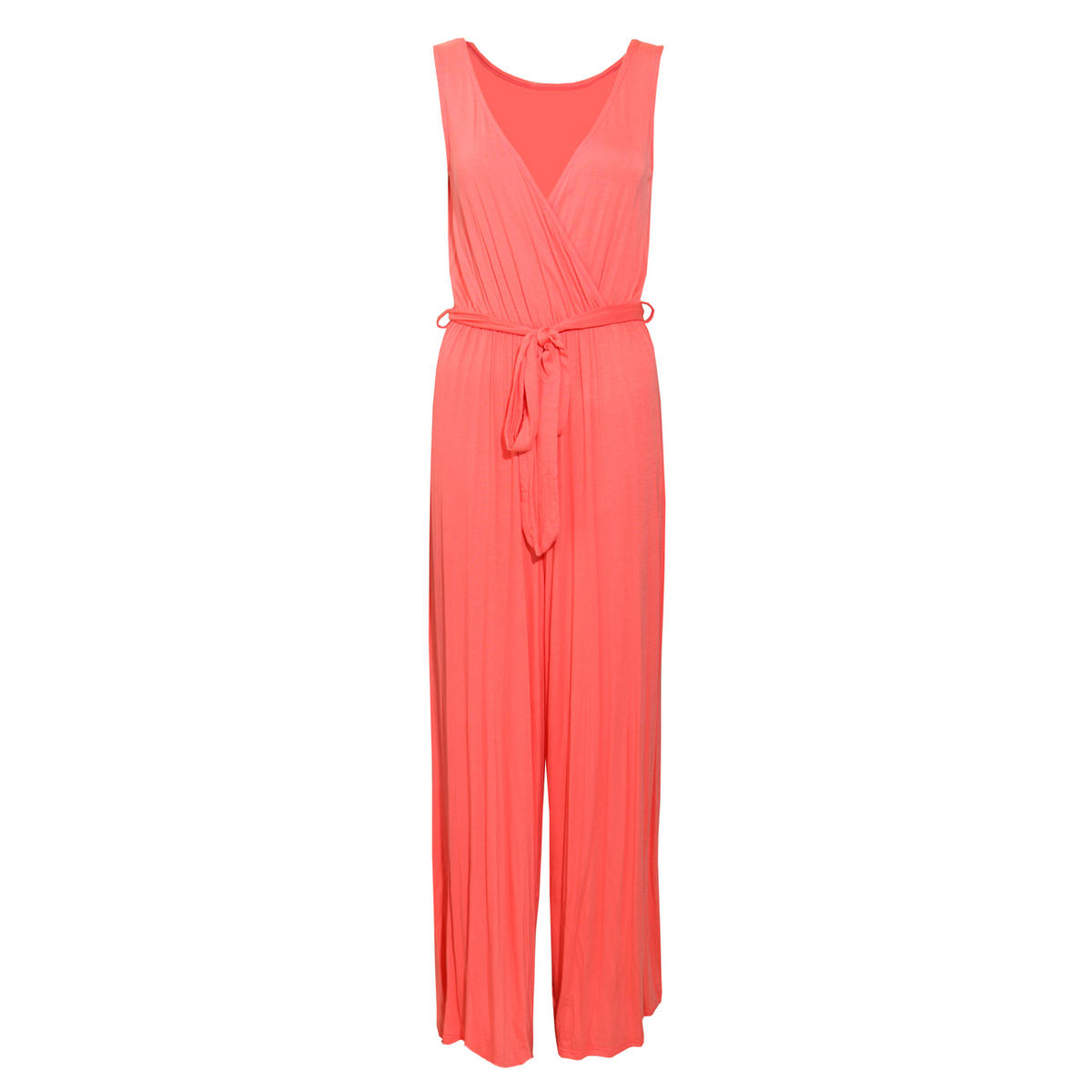 SIZE 8 ONLY Coral Wrapover Palazzo Jumpsuit Preview