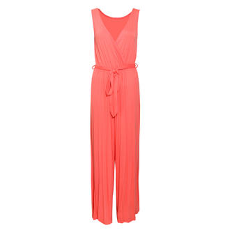 View Item SIZE 8 ONLY Coral Wrapover Palazzo Jumpsuit