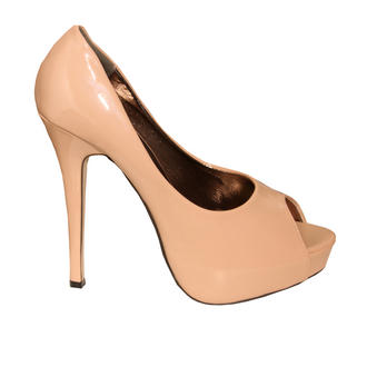 View Item Nude Patent Peeptoe Platform Shoe