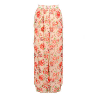 View Item SIZE 10 ONLY Bold Rose Print Palazzo Trousers