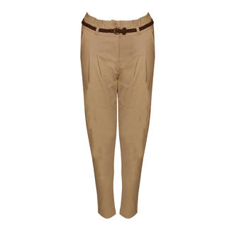 View Item SIZE 6 ONLY Beige Belted Chino Trousers