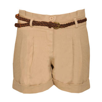 View Item Beige Pleated Turn Up Chino Shorts