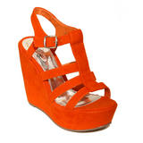 Orange Suedette Strap Wedge