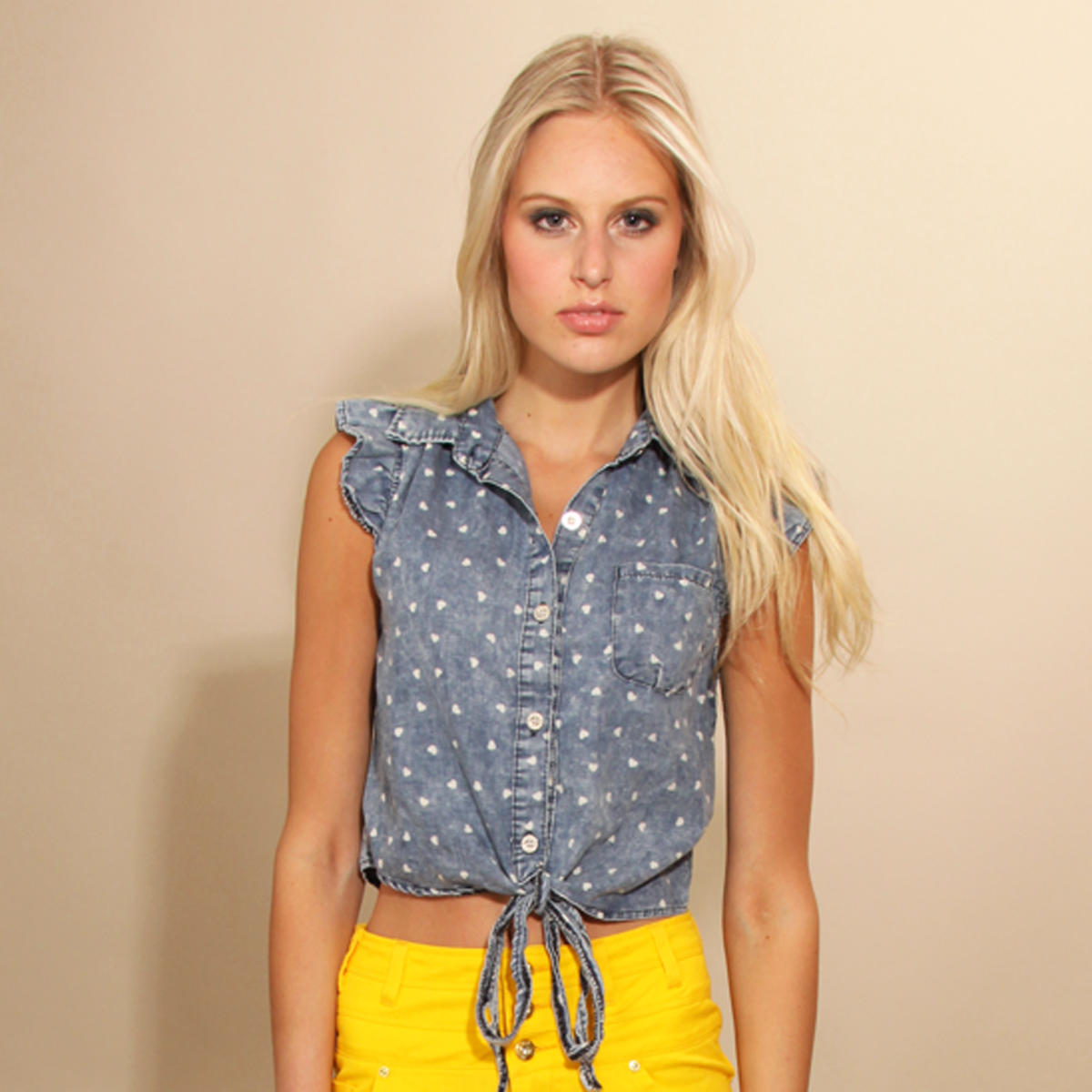 Blue Denim Heart Print Tie Top Preview