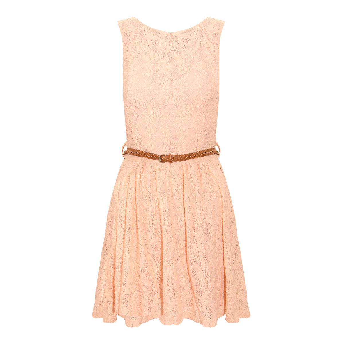 Nude Tailored Lace Pleat Dress  Preview