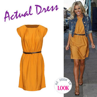 View Item Mustard Belted Shift Dress