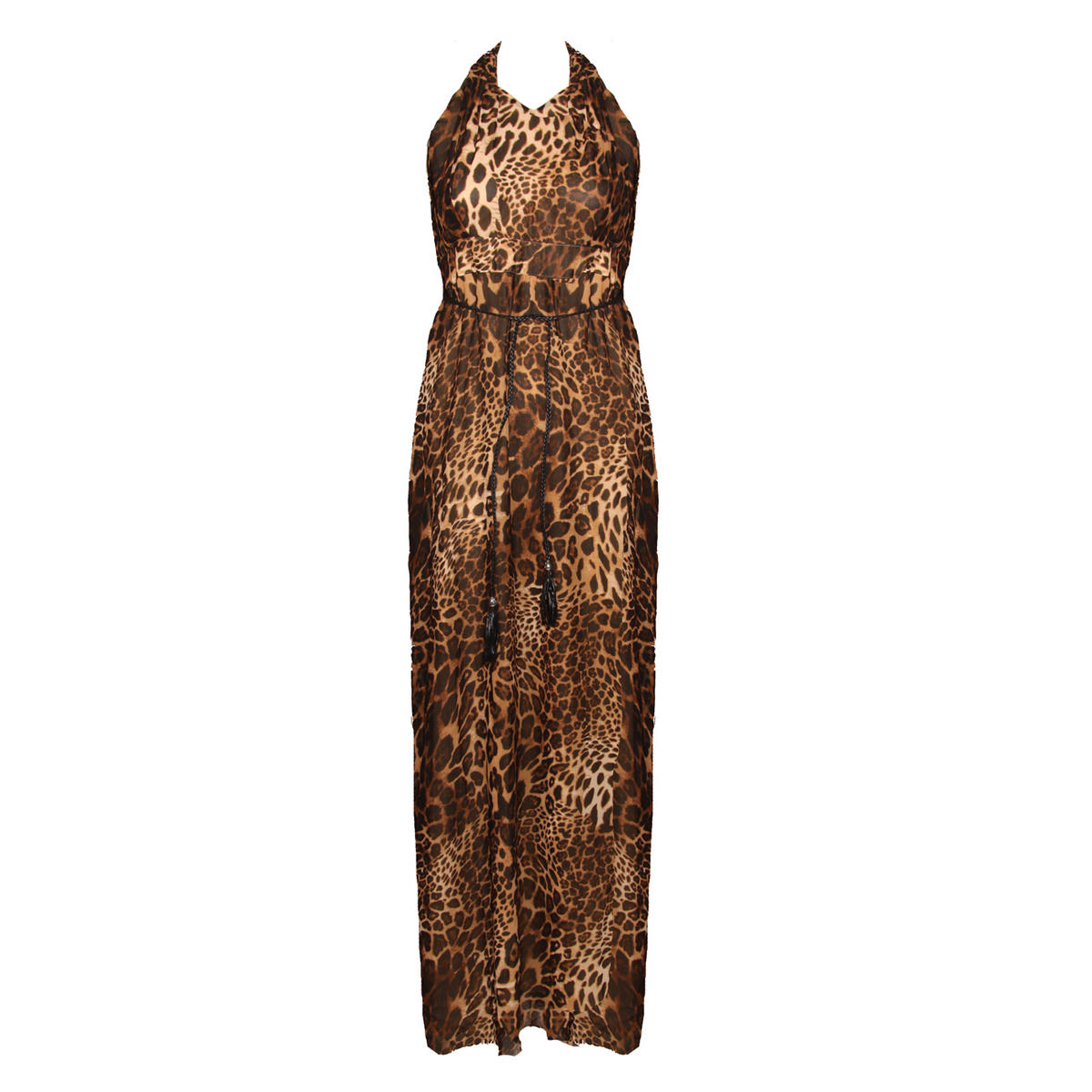 Leopard Print Belted Maxi Dress Preview
