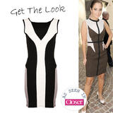 Monochrome Mesh Panel Bodycon Dress
