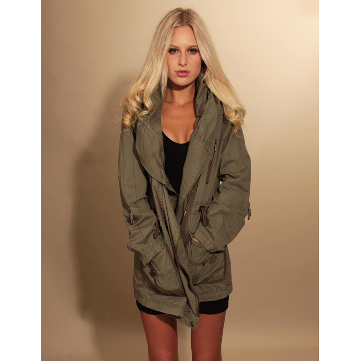 Khaki Oversized Hooded Parka Preview