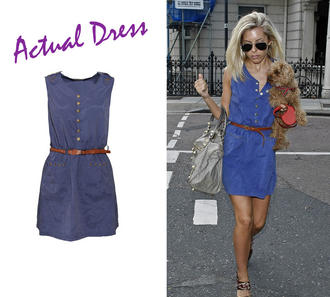 View Item Blue Button Up Belted Dress