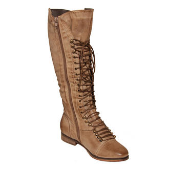 View Item Tan Lace Up Military Boots