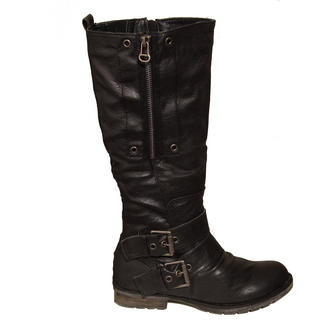 View Item Black Biker Buckle Boots