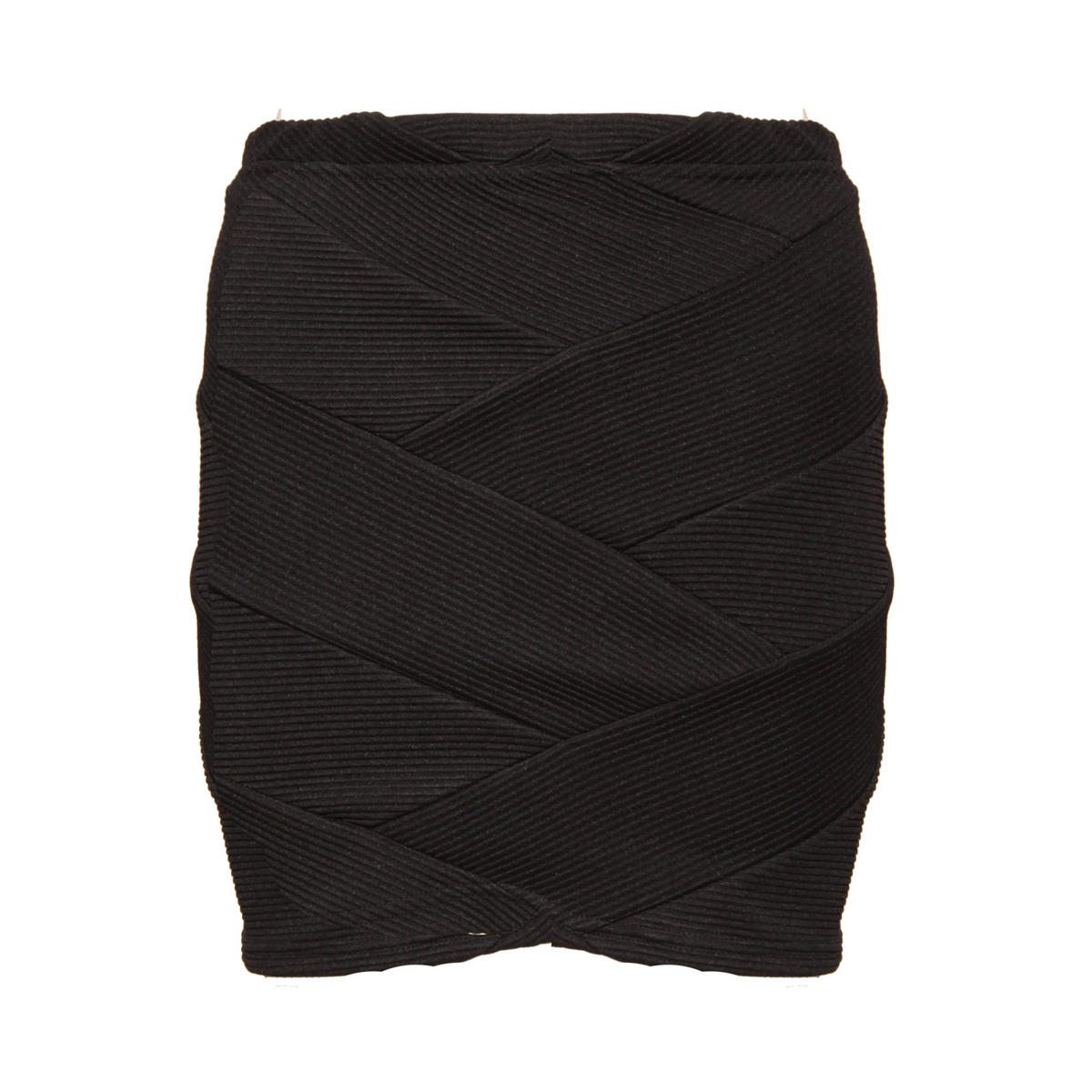 Black Ribbed Bodycon Skirt Preview