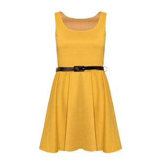View Item Mustard Pleated Skater Dress