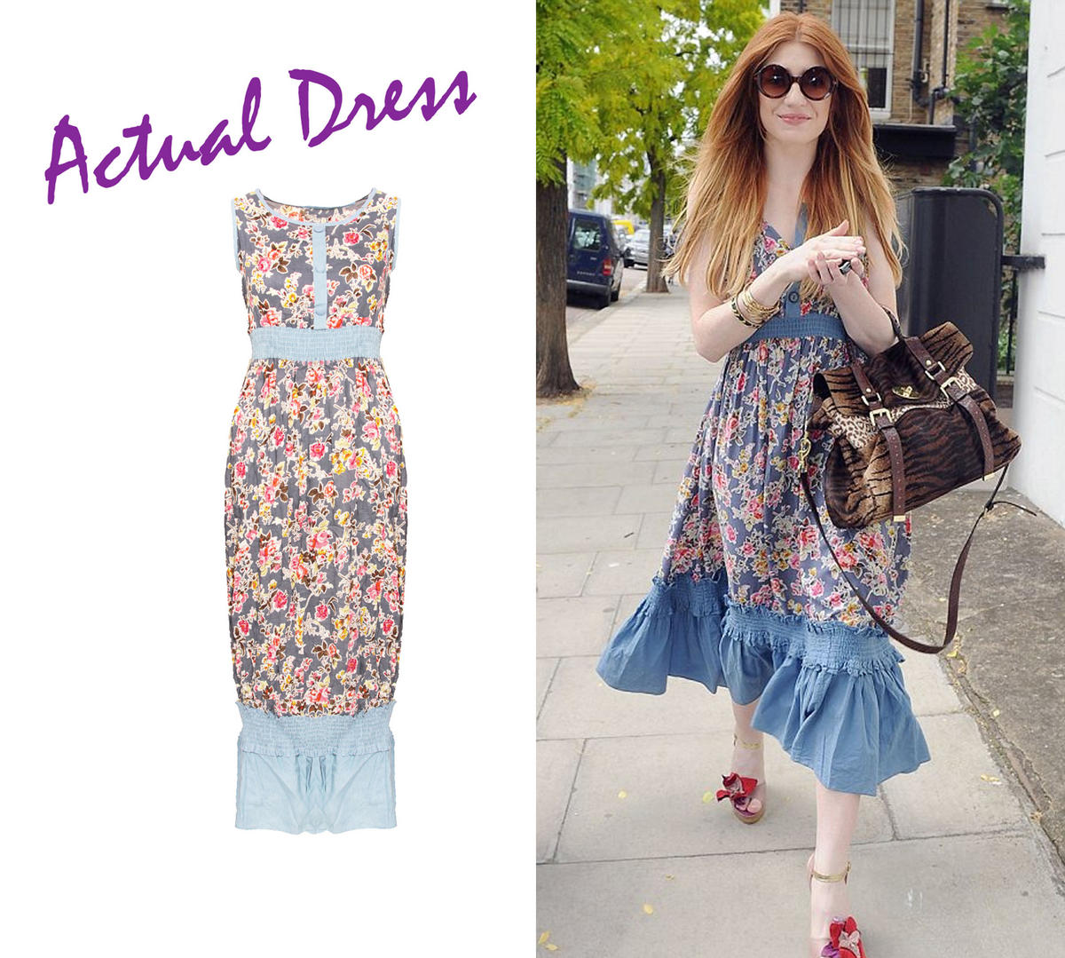 Floral Print Denim Maxi Dress Preview