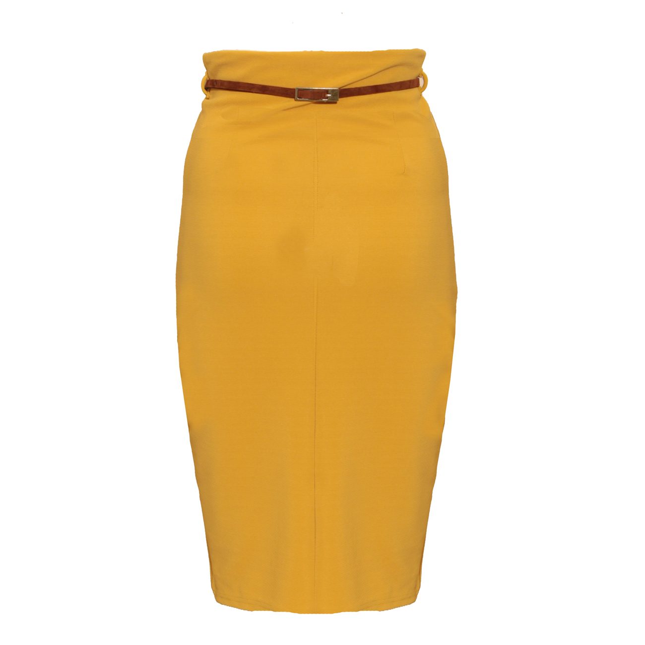 Mustard Belted Midi Pencil Skirt Preview