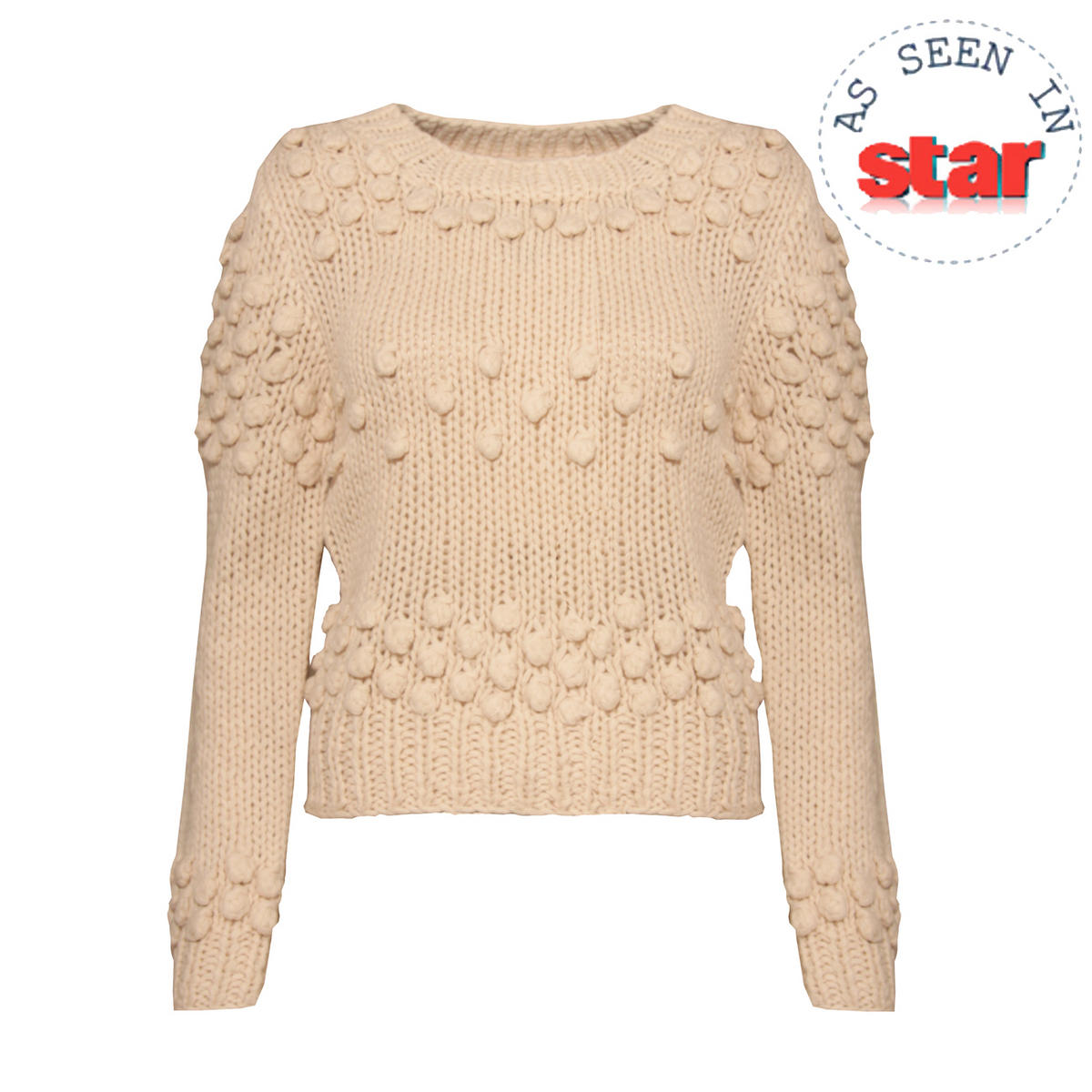 Cream Bobble Knitted Cropped Jumper Preview