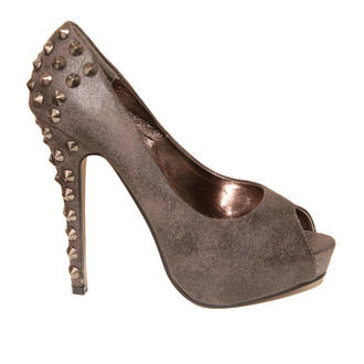View Item Grey Studded Peeptoe Platform Shoe 