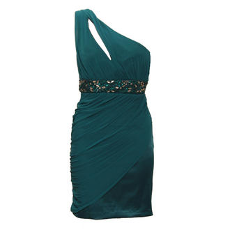 View Item Teal Assymetrical Embellished Dress