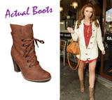 Tan Lace Up Heeled Boot